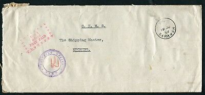 Sarawak: 'SIBU 1 OFFICIAL POST PAID' mark on unstamped 1952 envelope to Kuching