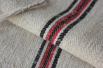 GRAINSACK GRAIN SACK fabric linen homespun European RED BLACK old bag LINEN