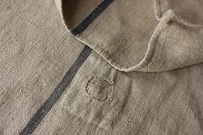 Vintage GRAIN SACK feedsack feedbag GREY BLUE indigo blue sack hemp rustic old