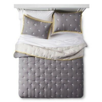 NEW Embroidered Comforter Set (Twin) Gray 2pc - Pillowfort