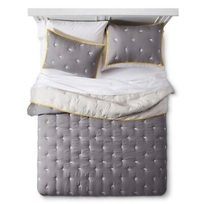 NEW Pillowfort Embroidered 2 Piece Comforter Set - Gray - Size: Twin
