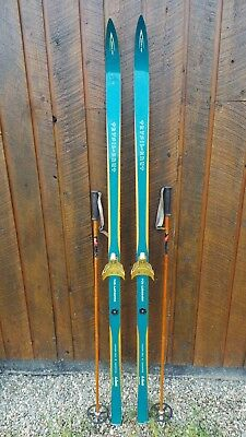 "ANTIQUE Wooden 71"" Long HICKORY Skis TURQUOISE Finish TRYSILKNUT + Bamboo Poles"
