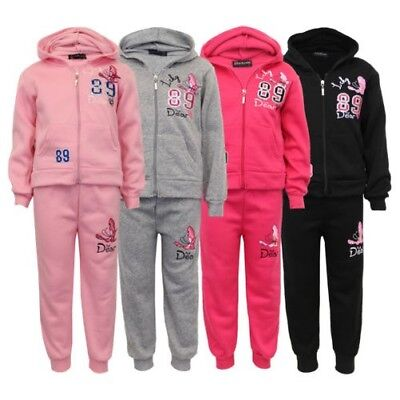 Girls Tracksuit Kids Hoodie Top Butterfly Print Bottoms Trouser Fleece Lined New