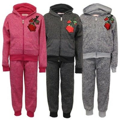 Girls Tracksuit Kids Hoodie Top Applique Rose Print Bottoms Trouser Fleece Lined
