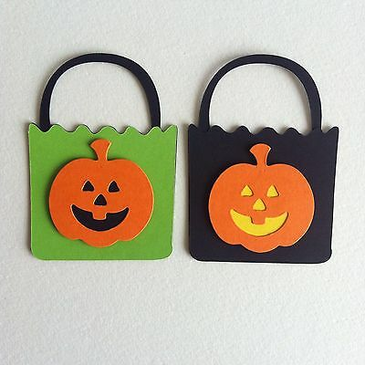 8 X Layered 3D Trick Or Treat Tote Bag Die Cut Shapes-Halloween Pumpkin