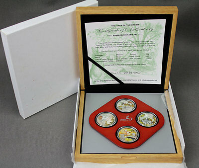 Cook Islands 2011 4x2$ Year of the Rabbit  4x20g Proof Silver Set
