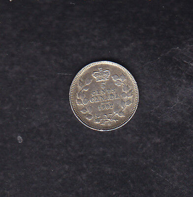 1902 H Sh Canada Silver 5 Cents