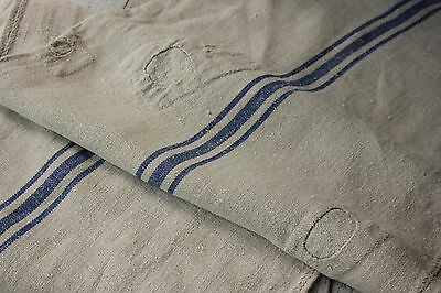 Antique GRAIN SACK vintage GRAINSACK old linen PATCHED timeworn rustic