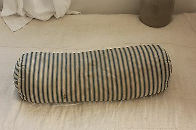 Antique Ticking French Boulster striped blue indigo feather down pillow insert
