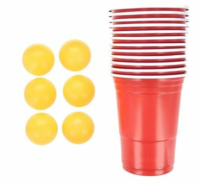 17pc Beer Pong Set Drinking Game Alcohol American Red Cup Beerpong Frat Party