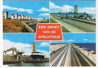 Holland Netherlands Postcard Monument Afsluitdijk Friesland Enclosing Dam Multi