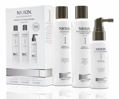 Nioxin Trial Kit System 1 Cleanser 150ml, Revitaliser 150ml,Scalp Treatment 40ml