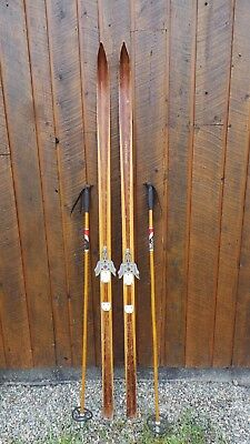 "VINTAGE Wooden 73"" Skis with BROWN Finish + Signed SPLITKEIN Have Metal Bindings"