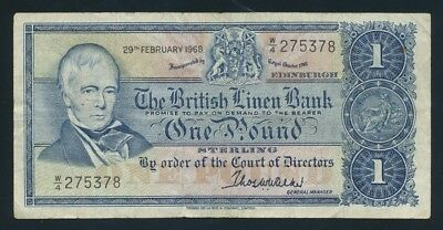 Scotland: British Linen Bank 29-2-1968 1ST DATE £1. Pick 169a Cat VF $27