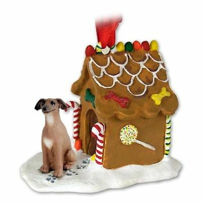 Italian Greyhound Dog Ginger Bread House Christmas ORNAMENT