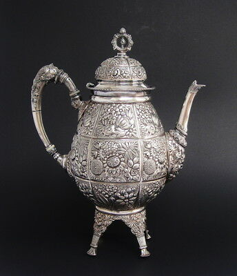 Large Antique Meriden Victorian Art Nouveau Silver Plate Teapot Coffee Pot