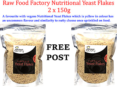 2 x 150g Raw Food Factory Nutritional Yeast Flakes  ( 300g ) FREE POST