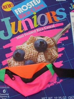 1990 New Wave Designs VINTAGE CEREAL BOX New JUNIORS FROSTED RICE CHEX w Pouch