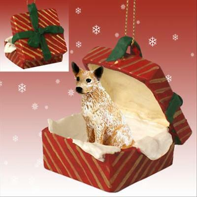 Australian Cattle Dog Red Brown Dog RED Gift Box Holiday Christmas ORNAMENT