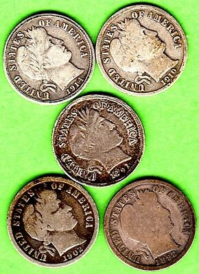 Roll of Scarce Silver Barber Dimes