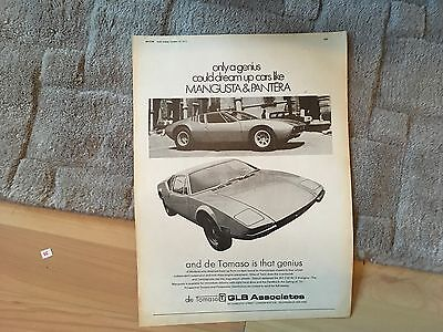 De Tomaso.  Magazine Advert1971.      Removed Pages  See Photo