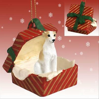 Whippet Tan White Dog RED Gift Box Holiday Christmas ORNAMENT