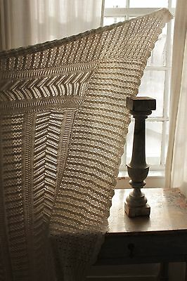 Antique French knitted knit coverlet throw  108X120 LARGE timeworn handmade