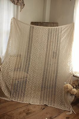Vintage French hand-made coverlet bedding textile w/ fringe lace antique warm