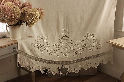 Vintage  French lace embroidered linen curtain with rings shabby chic drape