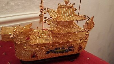 Rare Solid Silver Gilt & Enamel Chinese Boat