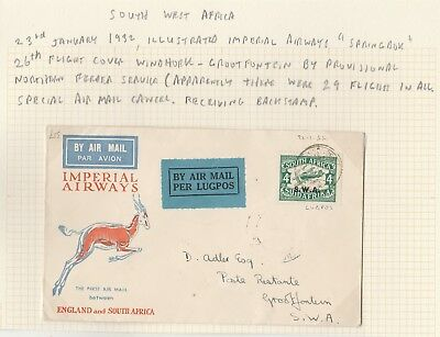 South West Africa 1932 First Flight Cover Windhoek - Grootfontein Imperial Air