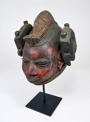 Rare Red Yoruba Gelede mask, Serpent biting its Tail on sides, African Art