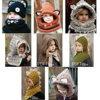 Winter Beanie Baby Infant Animal Warm Fox Hat Hooded Scarf Earflap Knit Cap Wool
