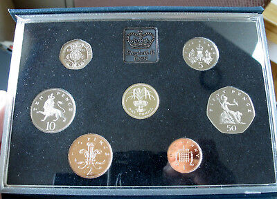 UK Britain 1985, 7 coin proof set, in deluxe box with COA. Nice set!