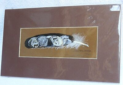 Ferret Pile Signed & Numbered Matted Feather Print by Sandra SanTara; 2004