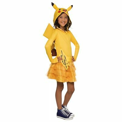 pokemon childs deluxe pikachu halloween costume girl hooded dress large new