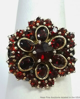 Antique Bohemian Garnet Gold Over Silver Ladies Flower Cluster Ring Size 7