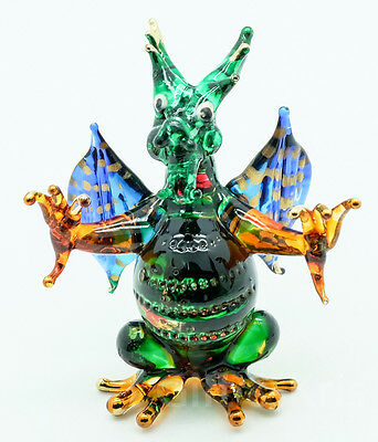 Figurine Hand Blown Glass Dragon Standing with Wings Spread Gold Trim - GNDG016