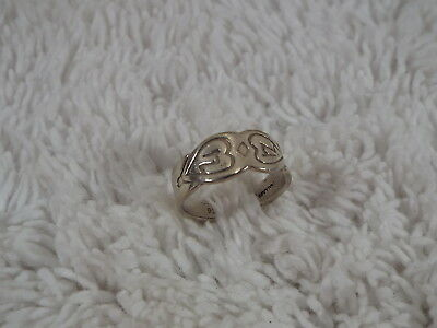 Sterling Silver Etched Cuff Ring ~ Adjustable Size 3-5 (D40)