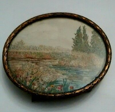 Superb Vintage Beautifully Hand Embroidered Miniature Picture in a gilt frame.