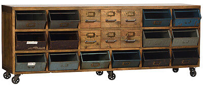 Industrial Reclaimed Wood Iron Casters Wood Drawers & Painted Galvanized Drawers