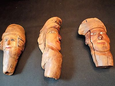 Lot of Three Signed Follk Art Wood Carvings by John Wiegenstein