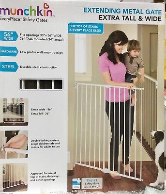 Munchkin Extending Metal Gate Barrier Safty Toddler Extra Tall And Wide 142 cm