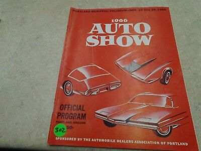 Portland Oregon Auto Show Program Pamphlet Used Manual VP 1966 VP-CM302