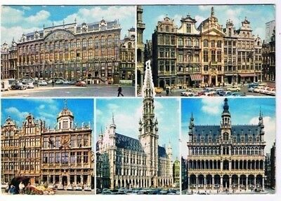 Belgium Postcard Souvenir From Brussels Buildings Multi View
