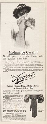 1909 Julius Kayser Silk Gloves NY Look For The Name Hat GORGEOUS Art Ad