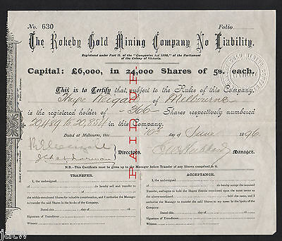 Share Scrip - Gold Mining. 1896 Rokeby Gold Mining N/L, West Gippsland Vic