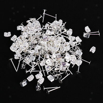 200pcs Silver Iron Metal Flat Pad Post Stud Earring for Craft Jewelry making