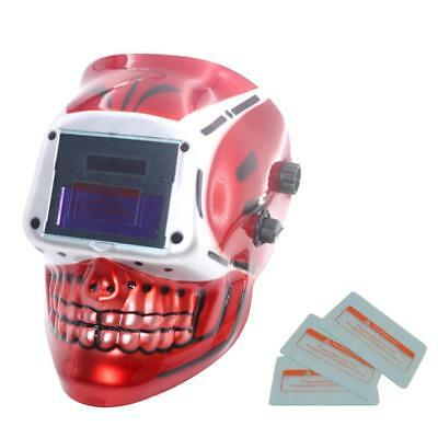 Welding Helmet Automatic Welding Mask MIG TIG ARC Mask w/ Lens - Red Skull