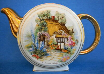 GORGEOUS VINTAGE ENGLISH ROUND FOOTED 'A SOMERSET COTTAGE' POTTERY TEAPOT-no lid
